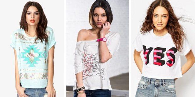 футболки: в принт с открытым плечом короткая с надписью