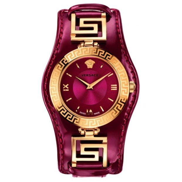 модные часы женские 2020-2021: малиновые с золотым циферблатом