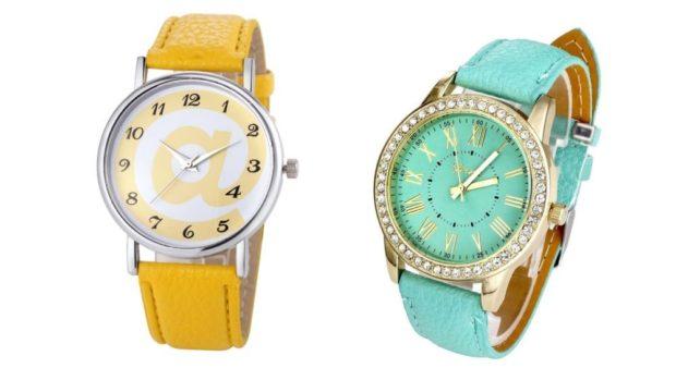 модные часы женские 2021: круглые желтые бирюзовые