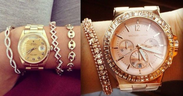 модные часы женские 2018-2019: металлические золотые с массивным ремнем