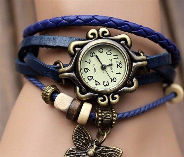 модные часы женские 2018-2019: синие многослойный браслет