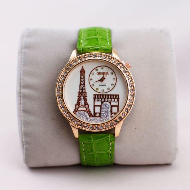 модные часы женские 2020: Париж зеленые ремень