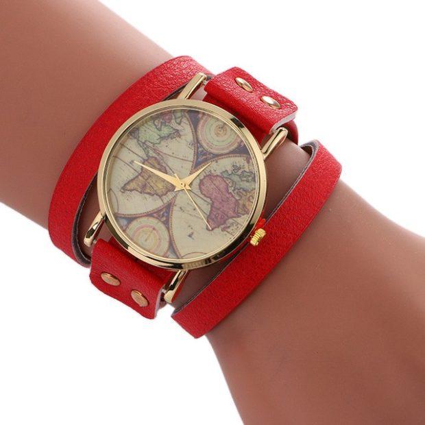 модные часы женские 2020: с красным ремешком