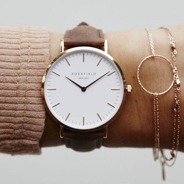 модные часы женские 2018-2019: круглые с коричневым ремешком и браслетом