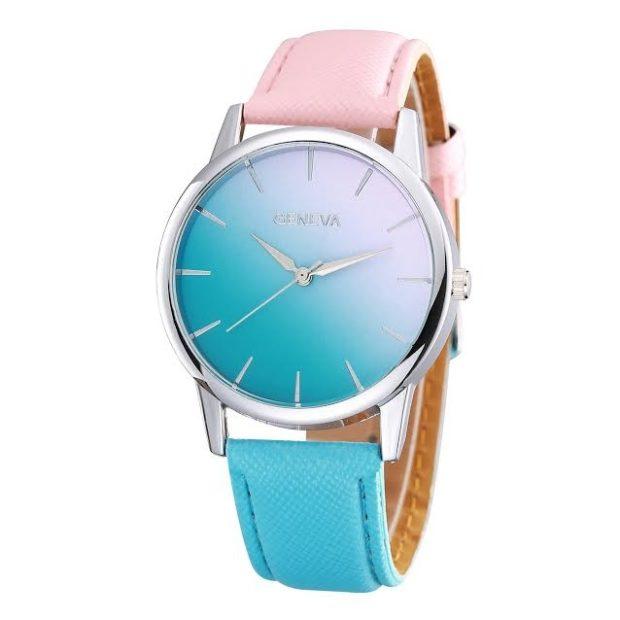 модные часы женские 2018-2019: циферблат омбре ремень розовый