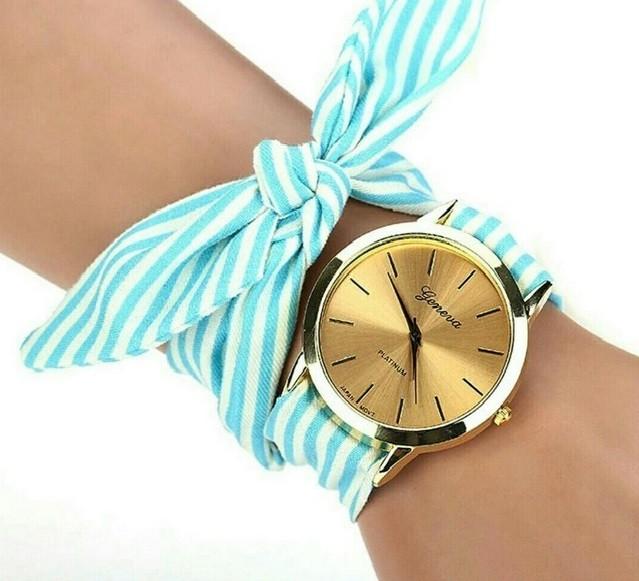 женские часы: с платком-ремешком голубые в белую полоску