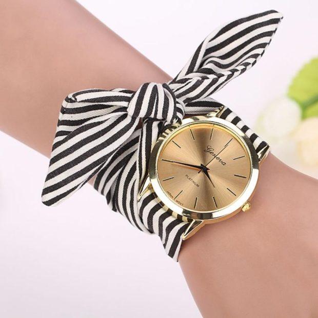 женские часы: с платком-ремешком полосатый