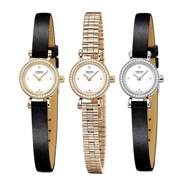 женские часы: круглые миниатюрные черные ремешок золотой
