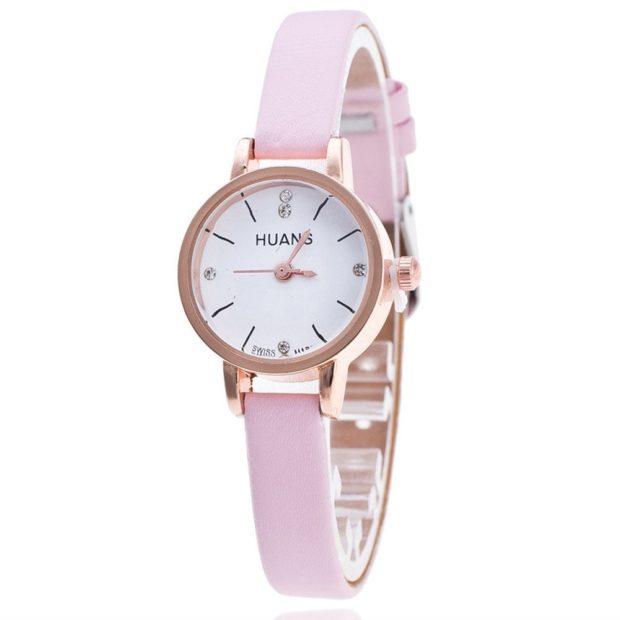 женские часы: миниатюрные розовые каучук