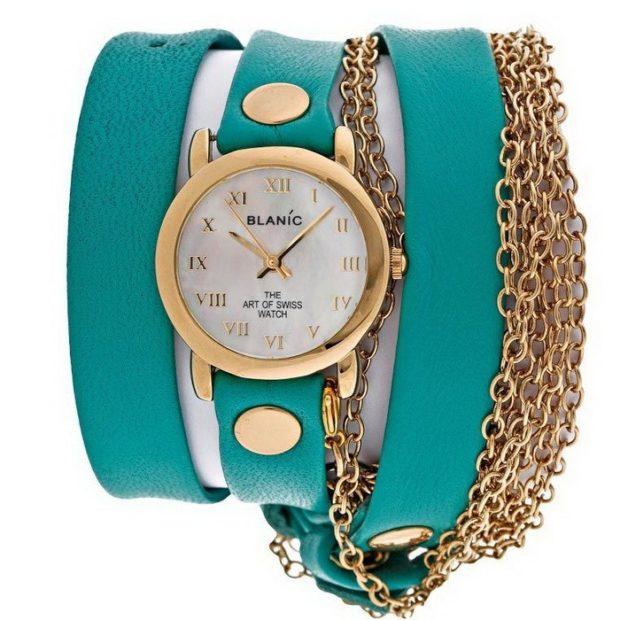 Модные женские часы: массивные бирюзовые с золотом