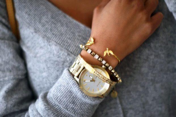 Модные женские часы: массивные с многослойным браслетом