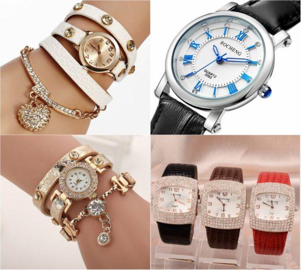 женские часы: с многослойным браслетом классика с камушками