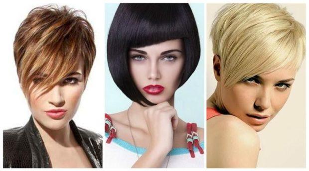 мода 2018-2019 короткие стрижки с косой челкой для женщин за 30 фото