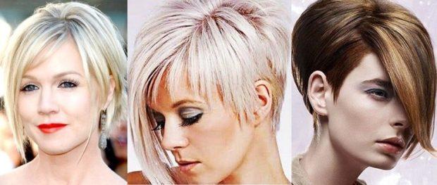 стильные стрижки на короткие волосы асимметрия с рваными и косыми челками для женщин за 30 фото