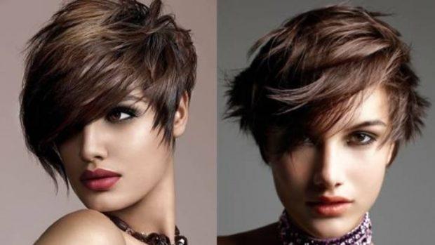 фото стильные стрижки на короткие волосы асимметрия с косой челкой для женщин за 30
