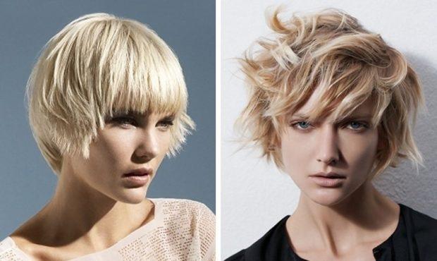 стильные стрижки на короткие волосы асимметрия с ровной челкой с косой челкой для женщин за 30 фото