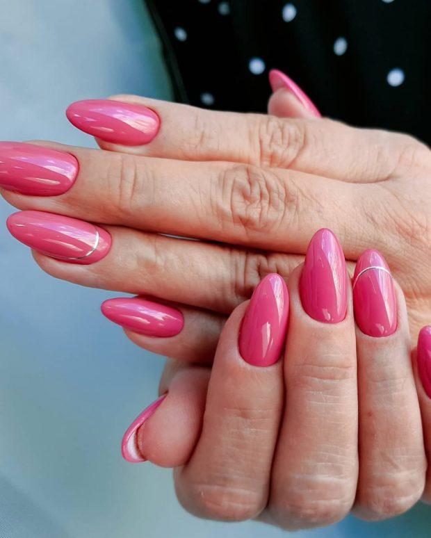 Модный дизайн ногтей шеллак 2019-2020: розовый лунный