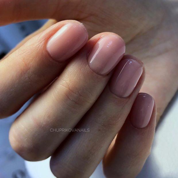Модный дизайн ногтей шеллак 2019-2020: нюдовый