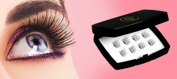 False eyelashes on magnets long