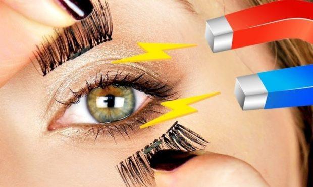 False eyelashes on magnets