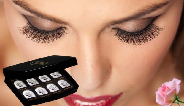 False eyelashes on the magnet for the entire length of the hair