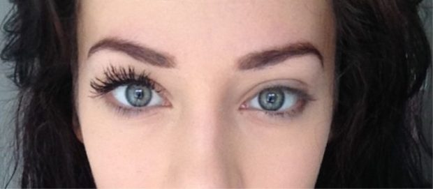 False eyelashes on a magnet before and after.
