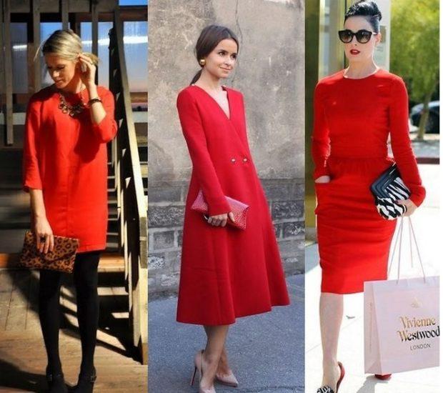красные платья разных фасонов