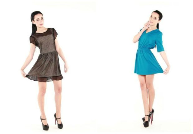 платья короткие коричневое голубое