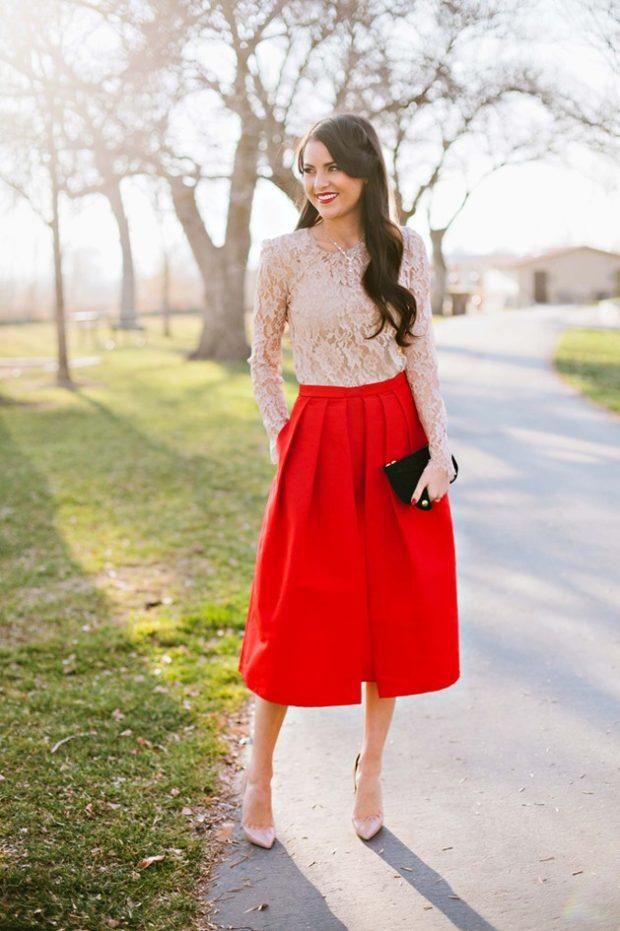 красная юбка белая блуза