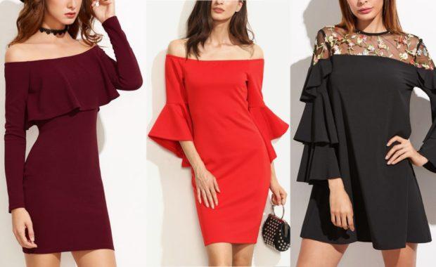 платье бордо красное черное открытые плечи