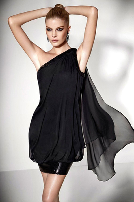 платье шифоновое черное короткое