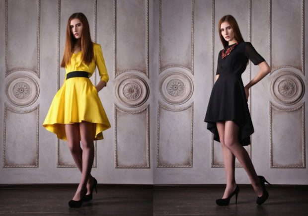 платье желтое черное со шлейфом