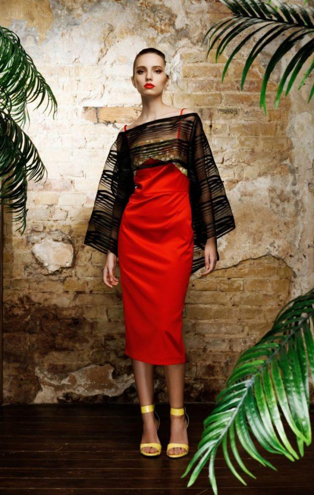 красное платье на тонких лямках сверху черное балеро прозрачное