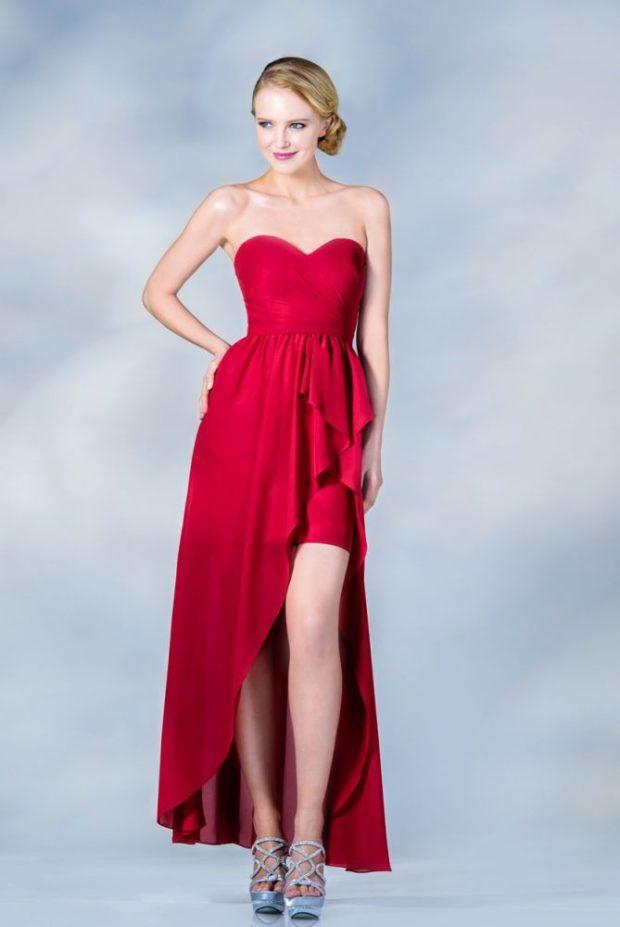 платье бюстье красное со шлейфом