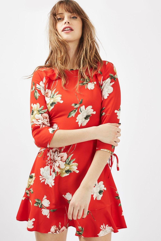 платье красное короткое в цветы