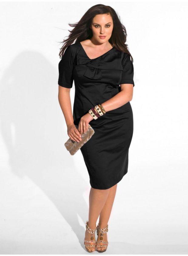 черное платье рукав короткий
