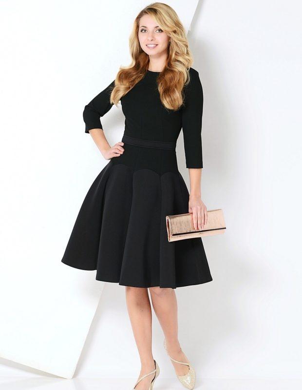 черное платье рукав 3/4 юбка солнце