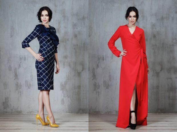 платье в клетку синее красное с запахом красное