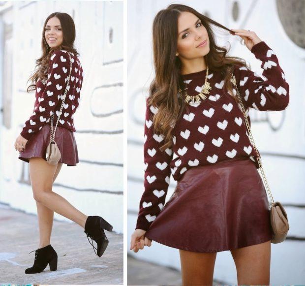 юбка и кофта темно-красные