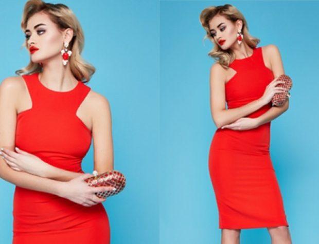 красное платье по фигуре открытые плечи