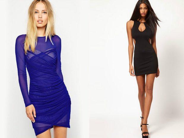 облегающее платье синее черное