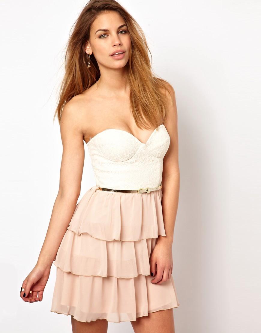 платье бежевое бюстье с юбкой воланами