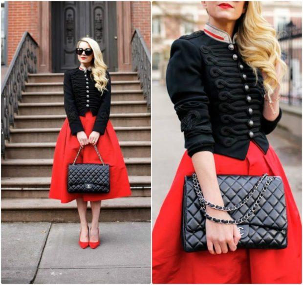 красная юбка пачка черный жакет