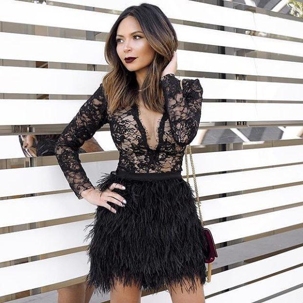 юбка черная короткая из перьев