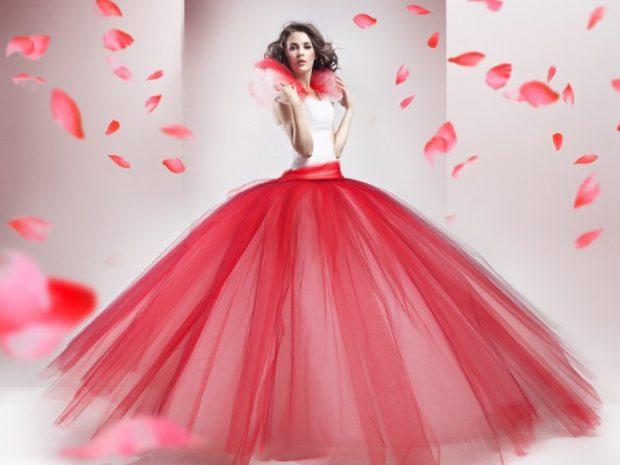 пышное платье красная юбка белый верх