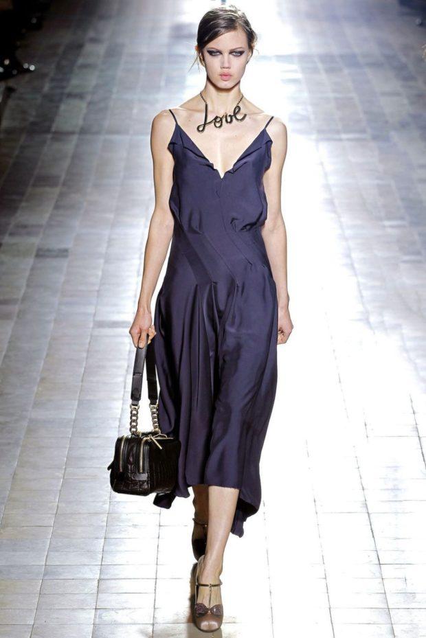 платье бельевой стиль синее миди