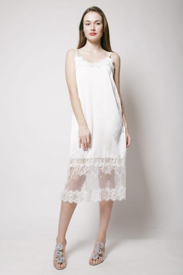 белое платье мили с кружевом