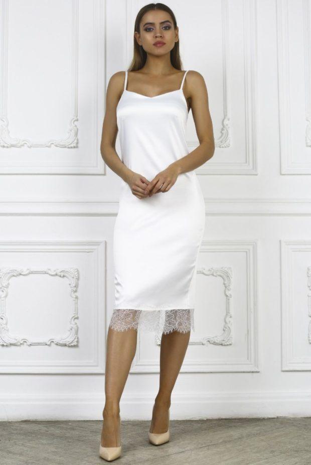 платье белое бельевой стиль миди