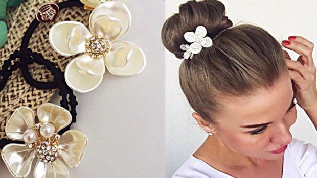 резинка на волосы с цветочком
