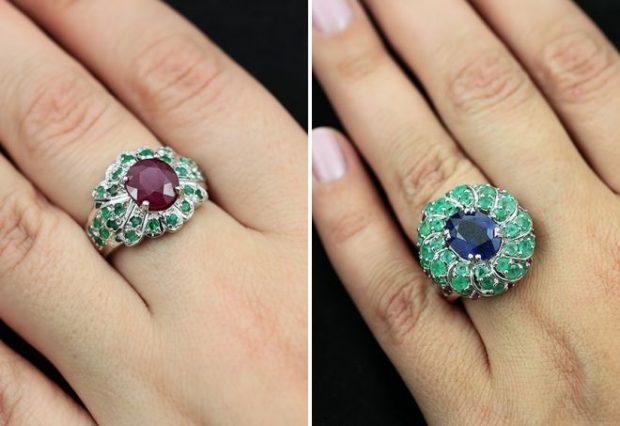 кольца зеленые с камушками